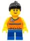 Minifig No: twn142  Name: Orange Halter Top with Medium Blue Trim and Flowers Pattern, Blue Short Legs, Black Ponytail Hair