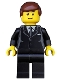 Minifig No: twn173  Name: Suit Black, Reddish Brown Male Hair, Black Eyebrows, Thin Grin