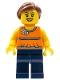 Minifig No: twn185  Name: Orange Halter Top with Medium Blue Trim and Flowers Pattern, Dark Blue Legs, Reddish Brown Ponytail and Swept Sideways Fringe