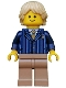 Minifig No: twn191  Name: Businessman Pinstripe Jacket and Gold Tie, Dark Tan Legs, Tan Tousled and Layered Hair
