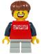 Minifig No: twn205  Name: Red Shirt with 3 Silver Logos, Dark Blue Arms, Light Bluish Gray Short Legs, Reddish Brown Hair