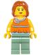 Minifig No: twn206  Name: Orange Halter Top with Medium Blue Trim and Flowers Pattern, Sand Green Legs, Dark Orange Hair