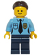 Minifig No: twn220  Name: Police - Female Officer, Dark Brown Hair with Bun
