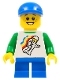 Minifig No: twn224  Name: Classic Space Minifig Floating Pattern, Blue Short Legs, Blue Short Bill Cap