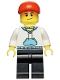 Minifig No: twn225  Name: White Hoodie with Blue Pockets, Black Legs, Red Short Bill Cap, Crooked Smile