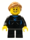 Minifig No: twn226  Name: Wetsuit with Blue Sign, Black Short Legs, Medium Dark Flesh Ponytail and Swept Sideways Fringe