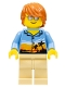 Minifig No: twn245a  Name: Dad, Bright Light Orange Sunset and Palm Trees Shirt (10247 alternate)