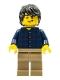 Minifig No: twn255  Name: Plaid Button Shirt, Dark Tan Legs, Black Tousled Hair