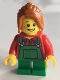 Minifig No: twn262  Name: Light Keeper Girl, Green Overalls, Short Legs