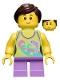 Minifig No: twn265  Name: Girl, Dolphin Top, Short Medium Lavender Legs, Dark Brown Ponytail and Swept Sideways Fringe