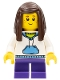 Minifig No: twn266  Name: White Hoodie with Blue Pockets, Dark Purple Short Legs, Dark Brown Long Straight Hair with Side Part