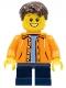 Minifig No: twn267  Name: Orange Jacket with Hood over Light Blue Sweater, Dark Blue Short Legs, Dark Brown Short Tousled Hair