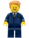 Minifig No: twn277  Name: Businessman Pinstripe Jacket and Gold Tie, Dark Blue Legs, Medium Dark Flesh Tousled Hair