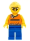 Minifig No: twn279  Name: Orange Halter Top with Medium Blue Trim and Flowers Pattern, Blue Legs, Bright Light Yellow Ponytail and Swept Sideways Fringe