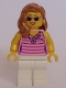 Minifig No: twn284  Name: Dark Pink Striped Top, White Legs, Medium Dark Flesh Female Hair over Shoulder