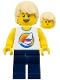 Minifig No: twn285  Name: Surfboard on Ocean - Dark Blue Legs, Tan Tousled Hair