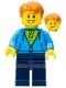 Minifig No: twn287  Name: Dark Azure Hoodie with Green Striped Shirt, Dark Blue Legs (40256)