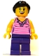Minifig No: twn288  Name: Female, Dark Pink Striped Top, Dark Purple Legs, Dark Brown Hair Ponytail and Swept Sideways Fringe