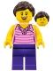Minifig No: twn288  Name: Female, Dark Pink Striped Top, Dark Purple Legs, Dark Brown Hair Ponytail and Swept Sideways Fringe (40256)