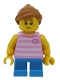 Minifig No: twn293  Name: Girl, Bright Pink Striped Top with Cat Head, Dark Azure Short Legs and Medium Dark Flesh Ponytail and Swept Sideways Fringe