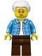 Minifig No: twn294  Name: Grandma, Dark Azure Plaid Jacket with Collar, Dark Brown Legs and White Hair