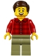 Minifig No: twn295  Name: Dad, Plaid Flannel Shirt with Collar, Olive Green Legs, Dark Brown Smooth Hair
