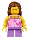 Minifig No: twn297  Name: Girl - Bright Pink Top with Butterflies and Flowers, Medium Lavender Short Legs, Reddish Brown Female Hair Mid-Length (31067)