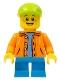 Minifig No: twn300  Name: Boy - Orange Jacket with Hood over Light Blue Sweater, Dark Azure Short Legs, Lime Cap