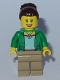 Minifig No: twn301  Name: Mom - Green Female Jacket Open with Necklace, Dark Tan Legs, Dark Brown Hair Female Large High Bun