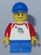 Minifig No: twn302  Name: Boy - Classic Space Shirt with Red Sleeves, Blue Short Legs, Blue Cap (31069)