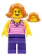 Minifig No: twn330  Name: Woman, Striped Pink Shirt with Flower Necklace, Dark Purple Legs, Dark Orange Female Hair Short Swept Sideways