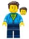 Minifig No: twn331  Name: Man, Green Striped Shirt under Dark Blue Hoodie, Dark Brown Hair, Dark Blue Legs