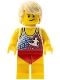 Minifig No: twn353  Name: Male with Tan Hair, Tank Top with White Surfur Logo, Red Swimsuit (Ludo Yellow)