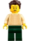 Minifig No: twn359  Name: Man with Dark Brown Hair, Tan Sweater, and Dark Green Legs