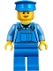 Minifig No: twn361  Name: Mechanic Male with Blue Hat, Dark Tan Moustache and Sideburns, Medium Blue Shirt, and Blue Overalls
