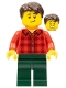 Minifig No: twn363  Name: Man with Red Flannel Shirt, Dark Green Pants and, Dark Brown Hair