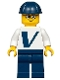 Minifig No: twn365  Name: Male with Vestas Logo on Torso, Dark Blue Legs, Dark Blue Construction Helmet, Glasses