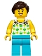 Minifig No: twn367  Name: Female, White Top with Green Apples and Lime Dots, Medium Azure Legs, Dark Brown Ponytail and Swept Sideways Fringe