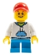 Minifig No: twn372  Name: Child Boy with White Hoodie with Blue Pockets, Dark Azure Short Legs, Red Short Bill Cap