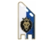 Part No: 14530a  Name: Plastic Flag with Black and Gold Lion with Crown on Blue and White Halves Pattern, Squared Ends