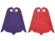 Part No: 28965pb01  Name: Mini Doll, Cape Cloth, Friends, Center and Side Points at Bottom, Long with 2 Small Top Holes and Red and Dark Purple Sides Pattern
