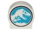 Part No: 14222pb013  Name: Duplo, Brick 1 x 3 x 2 Round Top, Cut Away Sides with Jurassic World Dino Pattern
