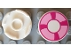 Part No: 14769pb002  Name: Tile, Round 2 x 2 with Bottom Stud Holder with Magenta and Bright Pink Life Preserver, Curved Bands Pattern