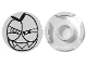 Part No: 14769pb005  Name: Tile, Round 2 x 2 with Bottom Stud Holder with Black Large Squinting Eyes and Wide Grin with Sharp Teeth (Nixel Face) Pattern