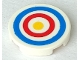 Part No: 14769pb086  Name: Tile, Round 2 x 2 with Bottom Stud Holder with Blue and Red Circles and Yellow Dot Archery Target Pattern