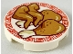Part No: 14769pb253  Name: Tile, Round 2 x 2 with Medium Dark Flesh Chicken Wings and Legs on Plate with Red Border Pattern