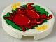 Part No: 14769pb255  Name: Tile, Round 2 x 2 with 2 Red Crabs, 2 Bright Light Orange Orange Slices, Green Garnish Pattern