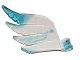 Part No: 15370pb02  Name: Hero Factory Wing, Feathered with Axle Hole and Marbled Trans-Light Blue Pattern