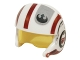 Part No: 21566c01pb02  Name: Minifigure, Headgear Helmet SW Rebel Pilot Raised Front and Microphone with Trans-Yellow Visor with Dark Red Stripes and Black Rebel Logo Pattern