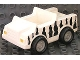 Part No: 2218c05pb01  Name: Duplo Car with 2 x 2 Studs and White Base and Safari Stripe Pattern, Pearl Light Gray Wheels